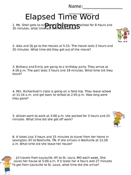 elapsed time word problems by emily shell teachers pay teachers. Black Bedroom Furniture Sets. Home Design Ideas