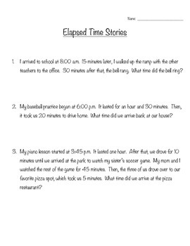 Elapsed Time Word Problems --- FREEBIE!