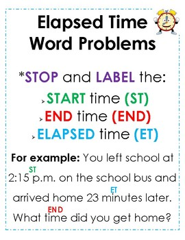 Elapsed Time - Word Problems