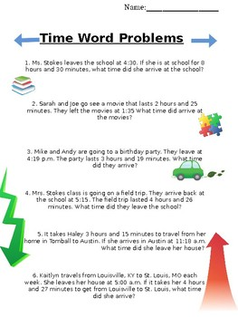 Elapsed Time Word Problems Looking for Beginning Time