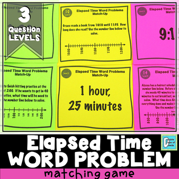 Elapsed Time Word Problems Matching Game