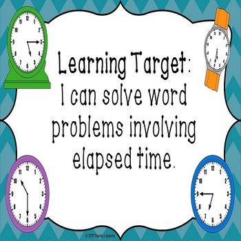 Elapsed Time Word Problems PowerPoint with Elapsed Time Number Lines 3.MD.1