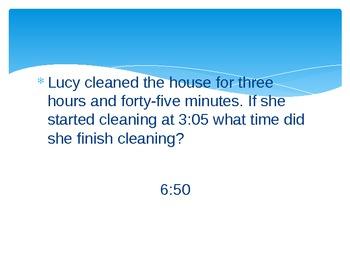 Elapsed Time Word Problems Presentation