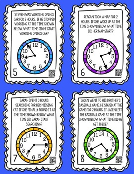 Elapsed Time Word Problems Task Cards