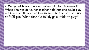 Elapsed Time Word Problems and Calendar Questions