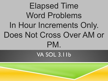 Elapsed Time Word Problems PowerPoint REVIEW & TEST PREP VA SOL & C - Core