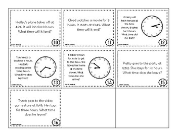 Elapsed Time Word Problems Worksheets with or without clocks