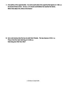 Elapsed Time Worksheet 2