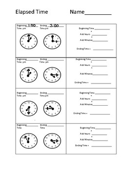 elapsed time worksheet - Elapsed Time Worksheet