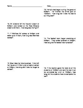 Elapsed Time Worksheet TEKS aligned