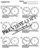 Elapsed Time Worksheet with Answers 1.MD.B.3 2.MD.C.7 3.MD.A.1