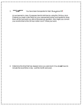 Elapsed Time Worksheet (with optional 24-Hour clock Questions)