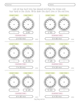 elapsed time worksheets by easy peasy learners tpt. Black Bedroom Furniture Sets. Home Design Ideas