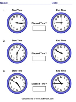 Elapsed Time Worksheets - 5 Minute Increments