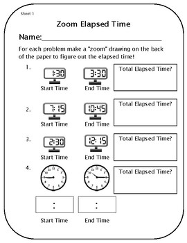 elapsed time worksheets and template by rich 39 s radical retail tpt. Black Bedroom Furniture Sets. Home Design Ideas