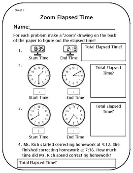 Elapsed Time Worksheets and Template