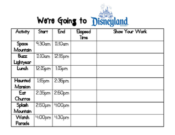 Elapsed Time at Disneyland