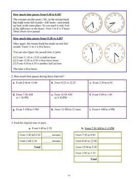 Elapsed Time - grades 3-4, common core