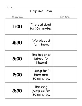 Elapsed Time for Primary Grades