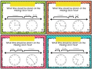 Elapsed Time on a Number Line Task Cards