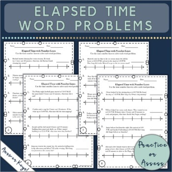 elapsed time worksheets with number lines and word problems tpt. Black Bedroom Furniture Sets. Home Design Ideas