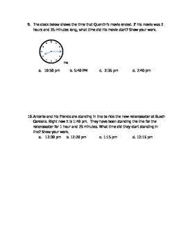Math VA SOL 4th Elapsed Time to 5 Minutes