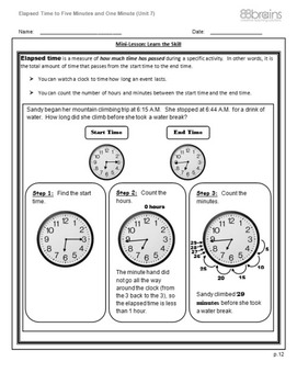 Elapsed Time to Five Minutes & One Minute pgs. 12 - 14 (CCSS)