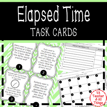 Elapsed Time to the Hour SOL 3.9 Task Cards