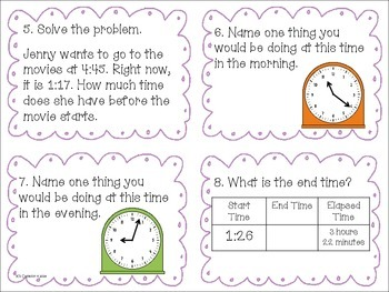 Elapsed Time to the Minute Task Cards