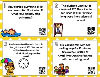Elapsed Time to the Nearest Minute Task Cards With Optional QR Codes