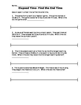 Elapsed Time- unknown end time- CCSS aligned 3.MD.A1
