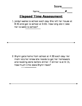 Elapsed Time using a number line