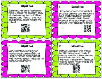 Elapsed Time with and without QR Codes (3.MD.A.1)