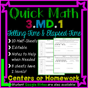 Homework or Math Centers for Elapsed Time and Telling Time - 3.MD.1