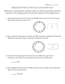 Elapsed time to the hour and half hour worksheet