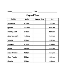 Elapsed time using a T chart and activity sheet