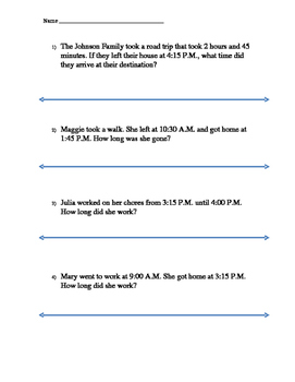 elapsed time word problems with number line by 3rd grade muggle teacher. Black Bedroom Furniture Sets. Home Design Ideas