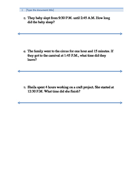 Elapsed time word problems with number line