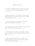 Elasped Time Worksheet