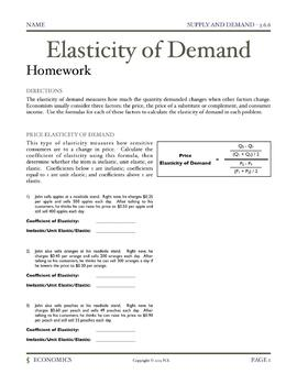 Elasticity Of Demand Worksheet: elasticity of demand lesson plan and activities by nick samsal,