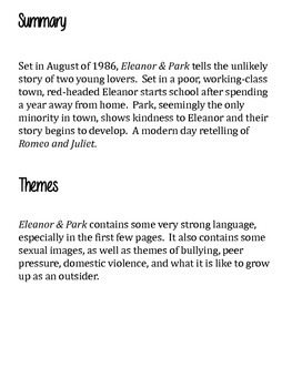 Eleanor Park By Rainbow Rowell Book Club Discussion Guide Tpt