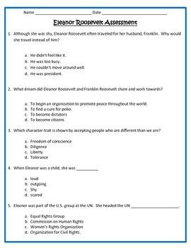 Eleanor Roosevelt ASSESSMENT- 3rd Grade Social Studies