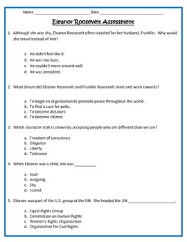 Eleanor Roosevelt ASSESSMENT- 3rd Grade Social Studies