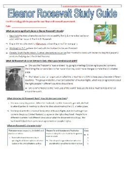 Eleanor Roosevelt Assessment and Study Guide COMBO!!