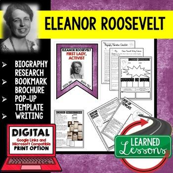 Eleanor Roosevelt Biography Research, Bookmark Brochure, Pop-Up, Writing