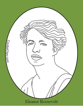 Eleanor Roosevelt Clip Art, Coloring Page or Mini Poster