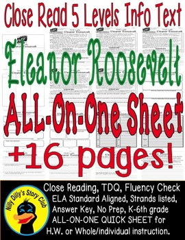 Eleanor Roosevelt Close Read 5 Level Passages ALL-ON-ONE SHEET 16pages Info Txt