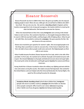 Eleanor Roosevelt Close Read, Comprehension, and Writing Packet