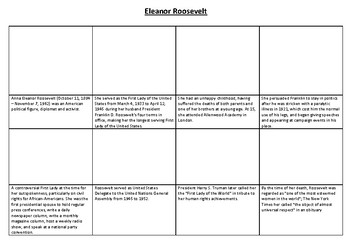 Eleanor Roosevelt Comic Strip and Storyboard