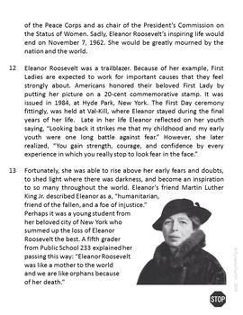 Eleanor Roosevelt Informational Text Test Prep Reading Passage {CCSS Aligned}